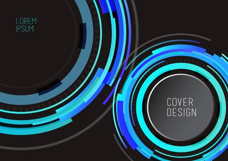 Book cover design template with abstract polygonal objects. Dark version