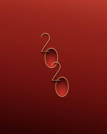 Happy New Year simple illustration greeting card with thin yellow digital numbers for 2020 year on plastic red background.