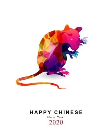 Chinese new year 2020 year of the rat colorful vector illustration.