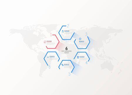 Six colorful hexagon vector progress steps illustration presentation template.