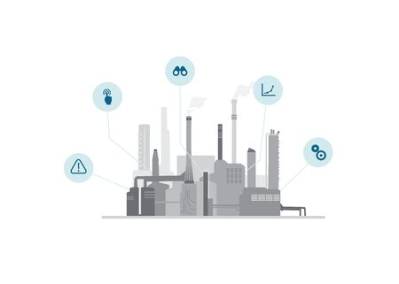 2D vector illustration template with industrial facility buildings and chimneys.