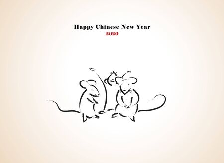 Chinese new year 2020 year greetings with 3 rats vector illustration.