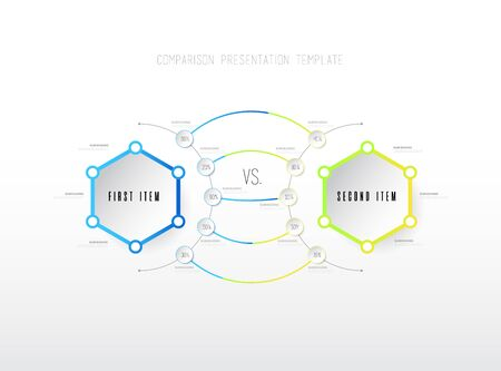 Two items  comparison vector template with hexagons.