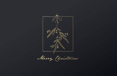 Handwritten Christmas illustration with hanging mistletoe.