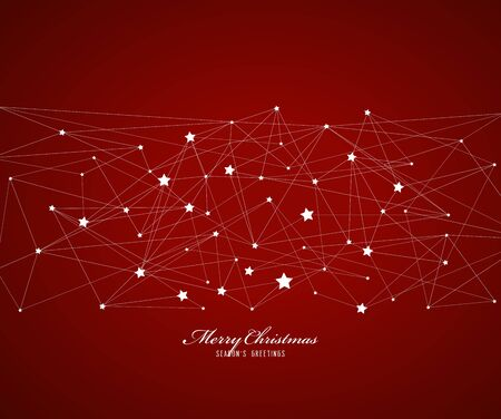 Abstract background with Christmas star and Merry Christmas text with many snowflakes.