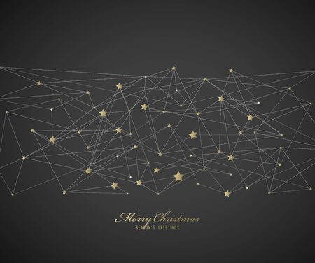 Abstract background with Christmas star and Merry Christmas text with many snowflakes - gold version  Ilustração