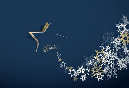 Abstract background with Christmas star and Merry Christmas text with many snowflakes - gold version