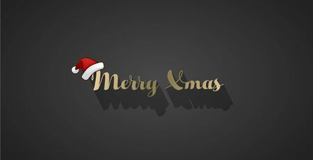 Dark Christmas vector background with shadow and Christmas hat.
