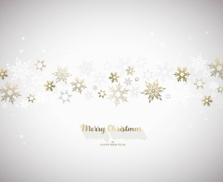 Merry Christmas vector illustration with many snowflakes on light background. Ilustração