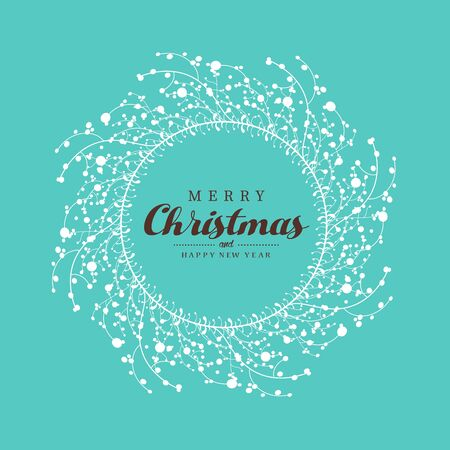 Christmas vector background illustration with Christmas wreath.