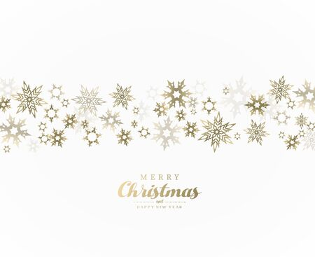 Merry Christmas vector illustration with many snowflakes on white background.