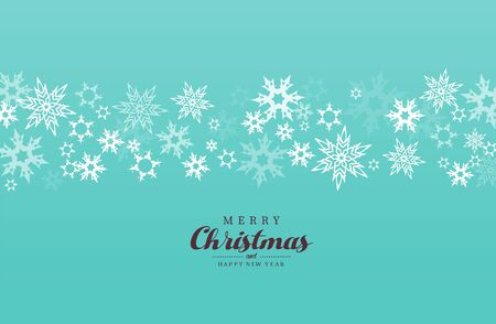Merry Christmas vector illustration with many snowflakes on green background.