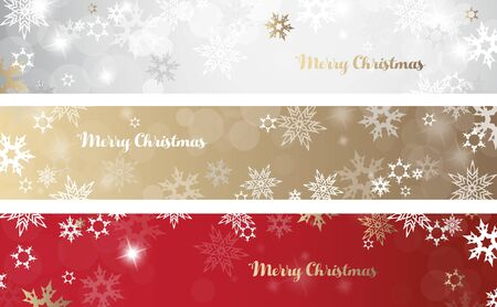 Set of three colorful Christmas background banners with snowflakes and simple Merry Christmas text - horizontal version Ilustração