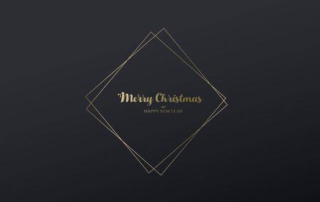 Dark Christmas vector background with line art.