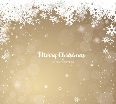 Christmas golden vector illustration with snowflakes and Merry Christmas text