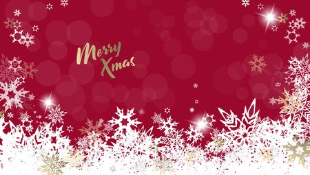 Christmas red vector background illustration with snowflakes and golden Merry Christmas text
