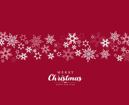 Merry Christmas vector illustration with many snowflakes on red background. Ilustração