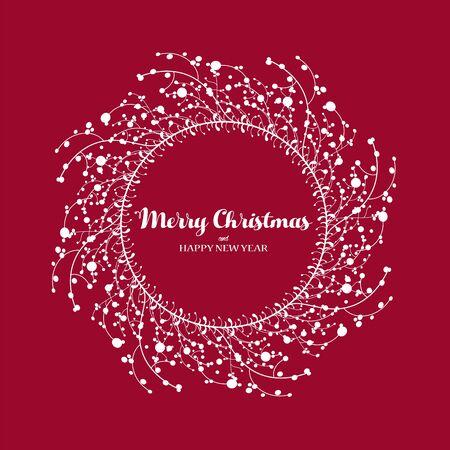 Christmas vector  illustration with Christmas wreath.