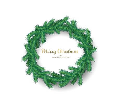 Christmas vector background illustration with Christmas wreath created with pine tree branches.