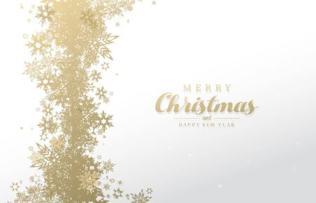 Have a Merry Christmas vector illustration with many snowflakes on white background.
