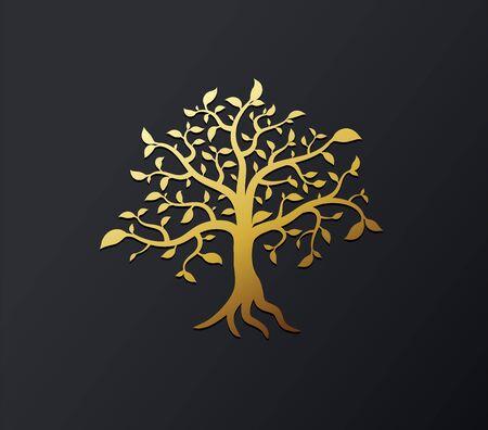 Golden vector background illustration tree with golden branches and leafs. Ilustração