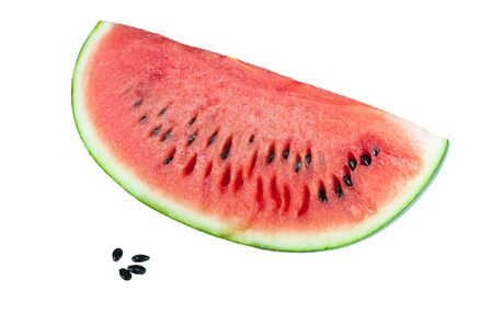 Watermelon slice and seed isolated on white background