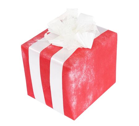 Red gift box with white ribbon isolated on white background   Stock Photo