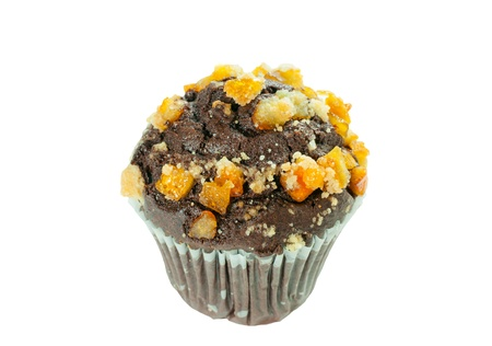 Chocolate orange muffin isolated on whitr background