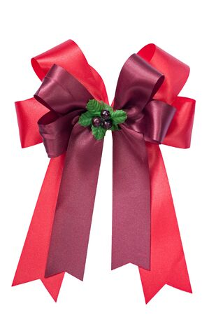 red ribbon bow isolated on white background. Stock Photo