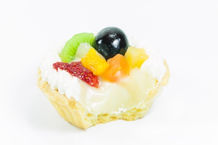 Fruits tart isolated on white background