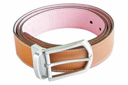 Two tone leather belt isolated on white
