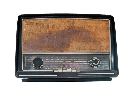 Vintage radio isolated on a white background Stock Photo
