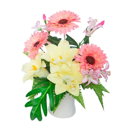 artificial flowers: artificial flower isolated on white Stock Photo