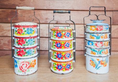Metal Tiffin, Food Containers with thai painting Stock Photo
