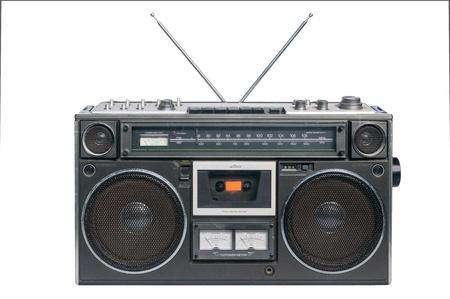 flauta dulce: Vintage Radio grabadora de cassette, aislado en blanco