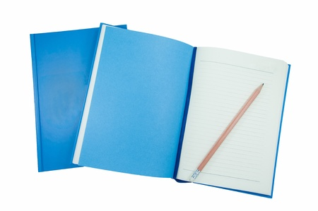 A pencil on Blue notebooks isolated on white.tif