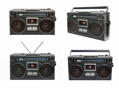 Four vintage radio cassette recorders, isolated on white