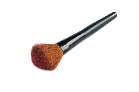 closeup of face powder brush isolated on white Stock Photo