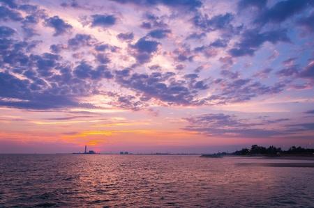 Beautiful sunset on the beachthe sea  Stock Photo