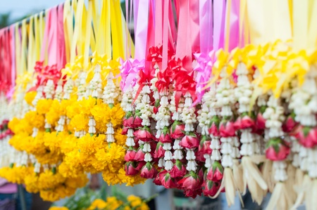 Flowers and garlands for sale Stock Photo