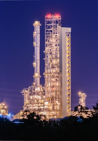 plant oil: Petrochemical plant at twilight