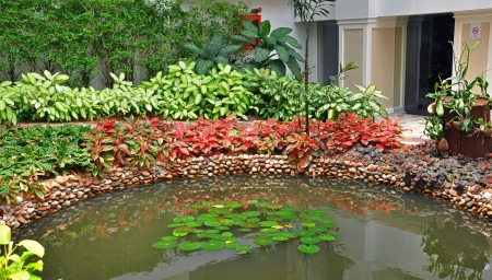 Colorful Asian garden with a pond