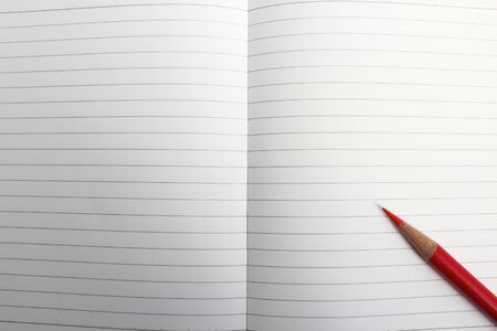 colored backgound: pen adn notebook Stock Photo