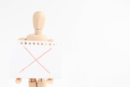 convey: Wooden man toy Stock Photo