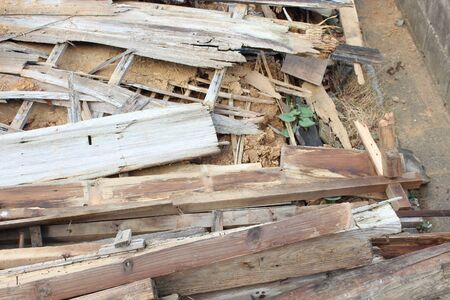 A collapsed Japanese house Stock Photo