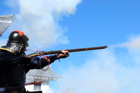 matchlock gun and samurai