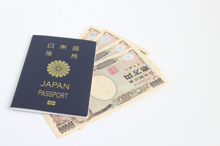 Passport and Japanese money 写真素材