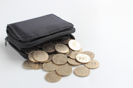 Wallet and Japanese coin 免版税图像