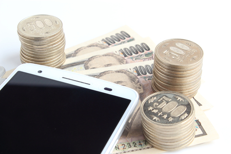 Smartphone and Japanese money