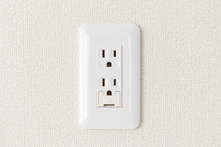Newly built three-terminal receptacle Stock Photo